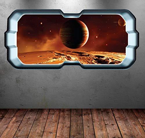TJJS Wandtattoos Raum Planet Fenster Galaxy Star Wandkunst Aufkleber Aufkleber Junge Schlafzimmer