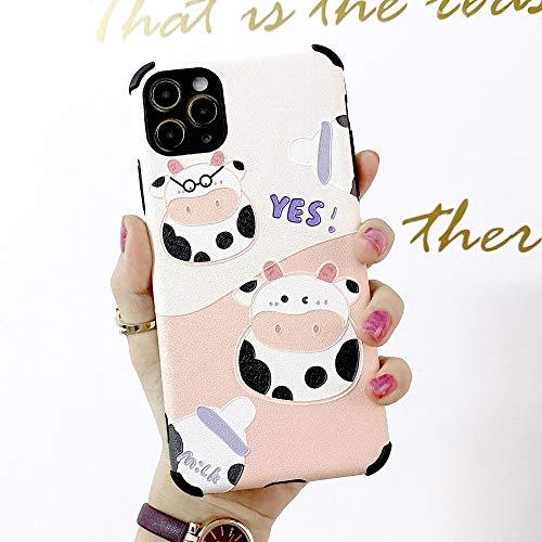 HNZZ Tmrtcgy Funda telefónica de Cuero para iPhone 11 12 Pro Mini Máx XS XR 8 7 6S Lindo Ok Ok Vaca y Bisonte Pareja de Dibujos Animados Suave Cubierta de Seda modelada