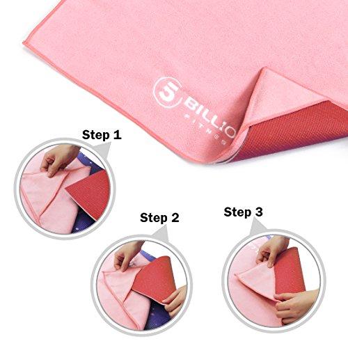 5BILLION Serviette de Yoga pour Tapis de Yoga en Microfibres, 183*61cm, Antidérapante Absorbant Lavable en Machine Séchage Rapide pour Sports (Gris)