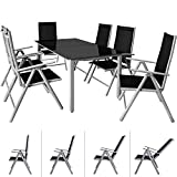 Deuba <span class='highlight'>Garden</span> Dining <span class='highlight'>Furniture</span> 6 Seater Bern Table and Chairs Set Aluminum Glass 6 Seater Recliner Outdoor Patio Silver Anthracite