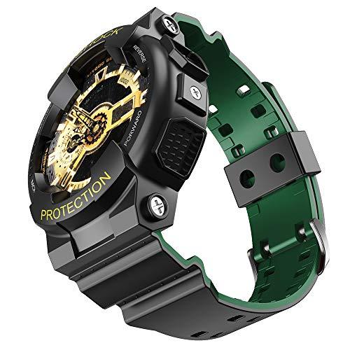 NotoCity para Casio Correa de Reloj de Repuesto para Hombre G-Shock GD120 / GA-100 / GA-110 / GA-100C(Negro-Verde)