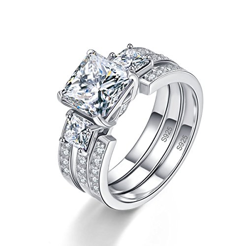 Bonlavie 'Past Present Future Princess Cut CZ 925 Sterling Silver for Wedding Ring Set, S