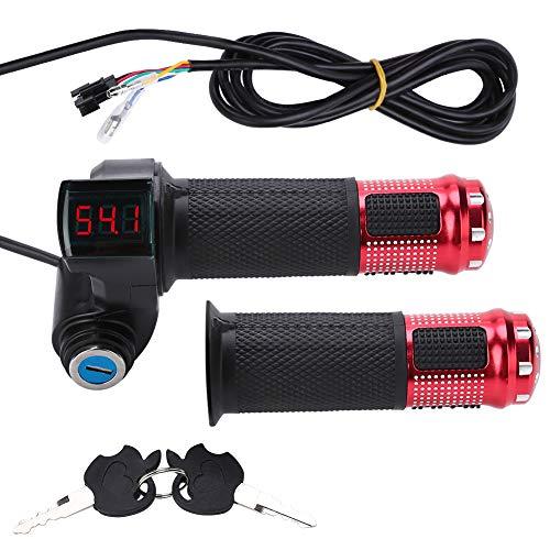 Manillar regulador acelerador eléctrico con indicador de batería LED y cierre con llave para alimentación de scooter o bici de montaña