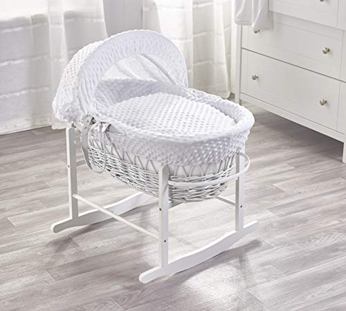 White Dimple White Wicker Moses Basket & White Rocking Stand