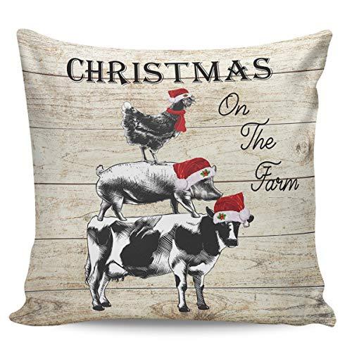 Funda de cojín decorativa Winter Rangers para sofá o dormitorio, diseño de Navidad en la granja de pollo, cerdo, vaca, retro, de madera, ultra suave, cómoda y cuadrada,, peluche corto, Farmwrs3061, 20' x 20'=50 x 50cm