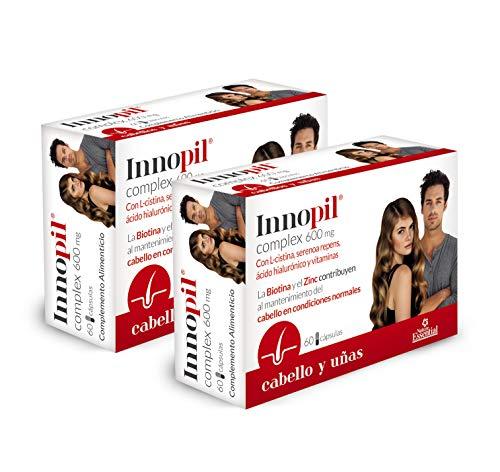 Innopil® complex 600 mg con L-cistina, serenoa repens, ácido hialurónico y vitaminas - 60 cápsulas. Para fortalecer y frenar la caída del cabello y reforzar uñas y piel. (Pack 2 unid.)