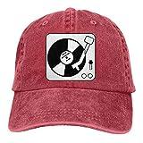 XCNGG Hombres 's/Mujeres' s Tocadiscos música Disco de Vinilo DJ algodón Denim Gorra de béisbol Ajustable Street Rapper Hat