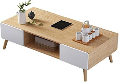 Modern Coffee Table Set, Wooden Retro Coffee Table with 4 Storage Drawer | Mid-Century Coffee Table for Living Room, Office, Balcon,Natural
