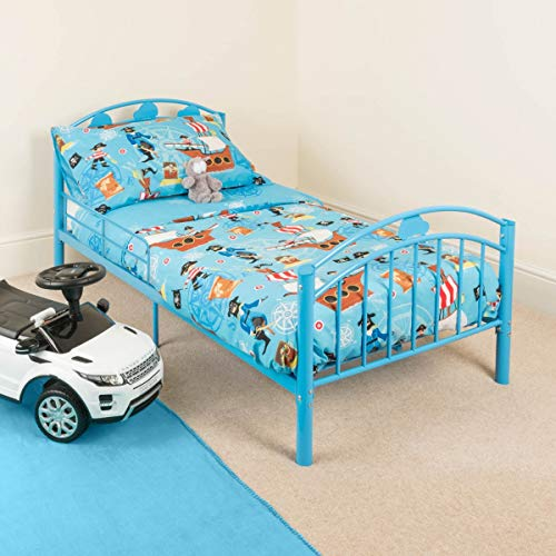 CHRISTOW Blue Toddler Metal Bed Frame Kids Bedroom Furniture Childrens...