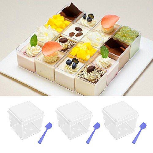 Gosear 20Pcs 120ml Mini Small Plastic Cube Dessert Cup with Lids and Spoons for Pudding Chocolate Mousses Shortcake Tiramisu Sauce Starter Party Tableware Disposable Reusable Party Dishes