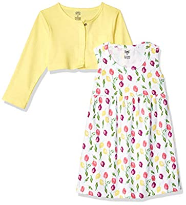 Luvable Friends Baby and Toddler Girl Dress and Cardigan, Tulips, 9-12 Months