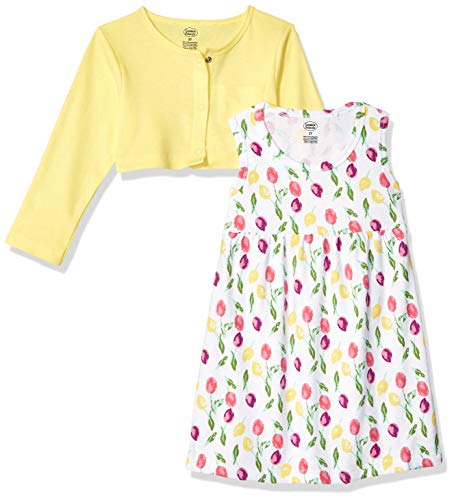 Luvable Friends Baby and Toddler Girl Dress and Cardigan, Tulips, 3 Toddler