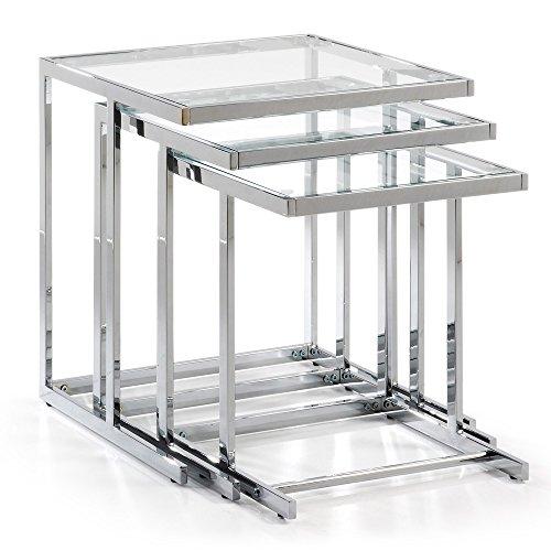 Kave Home - Lot de 3 Tables d'appoint Bliar encastrables carrées en Verre et Acier