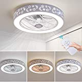 37W LED Ceiling Fans Modern Ceiling Light with Fan Remote Control Indoor Lighting LED Nordic Fan...