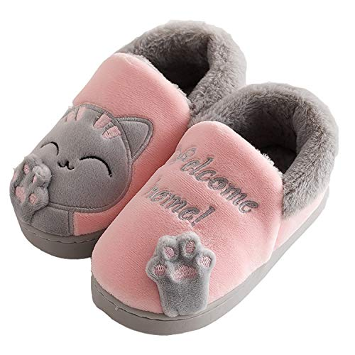 Ragazze Inverno Pantofole Ragazzi Warm Scarpe Ciabatte Chiuse Caldo Peluche Pantofola a Casa per Unisex, Gatto Pink, 23/24 EU