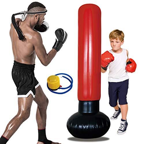 Sacco da boxe gonfiabile autoportante, Sacco da boxe per bambini 160cm ,Manichini da boxe per bambini che praticano karate, taekwondo, sacchi di sabbia,decompressione, con pompa aria