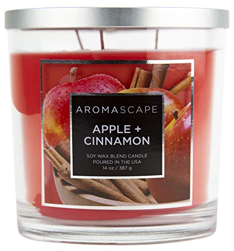 Aromascape PT41129 3-Wick Scented Jar Candle, Apple & Cinnamon,14 Ounce