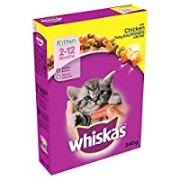 Whiskas 2-12 months dry kitten food provides complete nutrition for the balanced diet your kitten needs to grow up into a healthy cat. With increased vitamin e and taurine to help to support her natural defences.