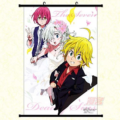 Shah Decoración del hogar Anime japonés Anime de Desplazamiento de Pared Póster The Seven Deadly Sins I 60x90cm