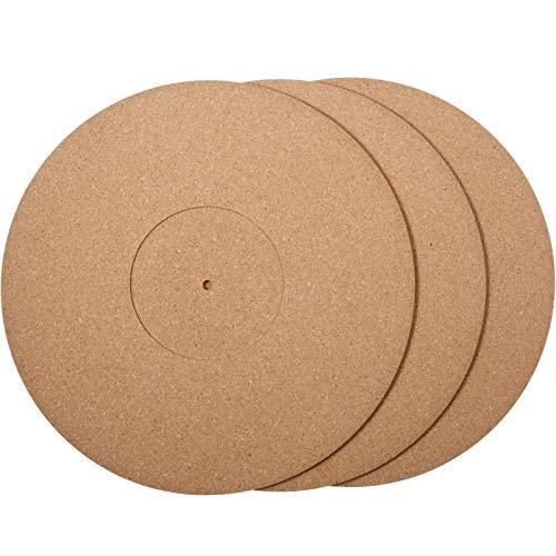 3 Stücke Kork Plattenspieler Matten in 12 Zoll x 3 mm Einbau Plattenspieler Platte Matte Kork Rekord Platten Matten mit Hi-Fi für Vinyl LP Plattenspieler Audiophile Rauschen Reduzieren