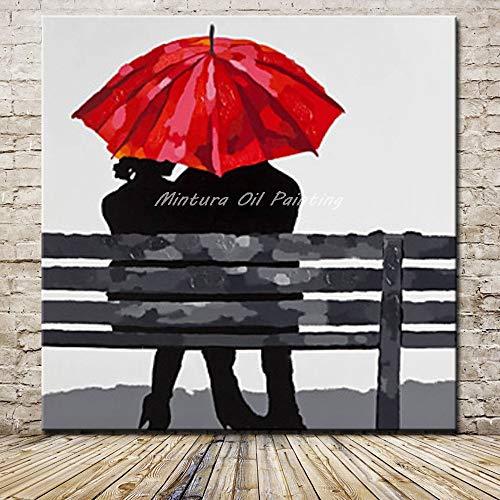 Olieverfschilderij op canvas handgeschilderd, abstract schilderen, liefhebbers met rood dak op de werkbank, moderne luxe grote muurdecoratie kunst voor home slaapkamer woonkamer volwassenen cadeau 100 x 100 cm