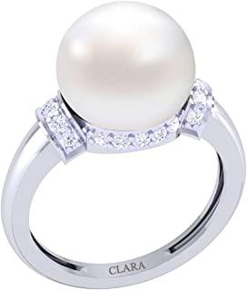 Clara 92.5 Sterling Silver Swiss Zirconia Classic Pearl Ring Gift for Women and Girls
