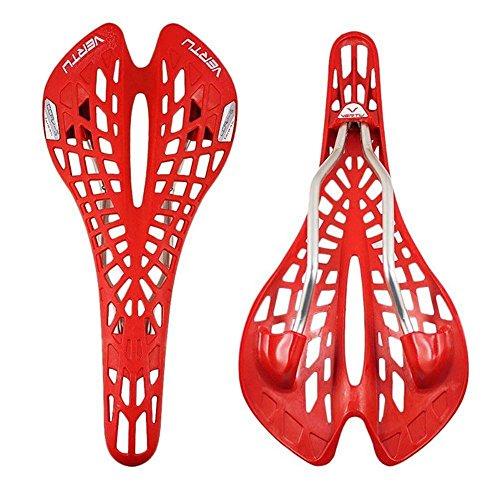 Zhuotop Vertu - Sella per bicicletta, ultra leggera, design a ragnatela, ergonomica, assorbe gli urti, colore rosso