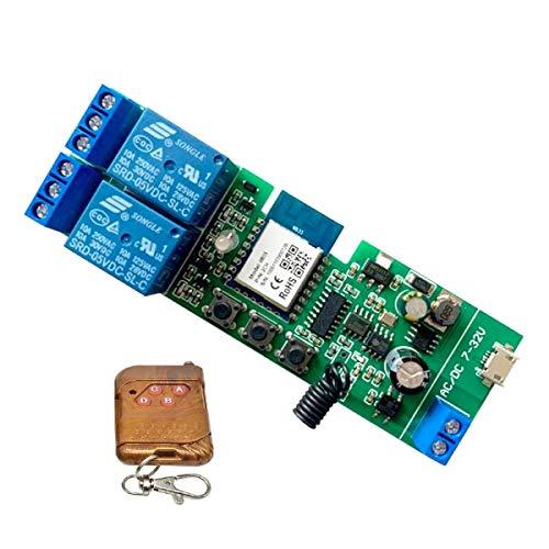 MHCOZY Interruptor de relé WiFi RF, funciona como pulsador e interruptores inalámbricos, Alexa activa la cortina de la puerta de su garaje