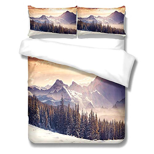 iCoCofly Bedding 3 Piece Bed Sheet Set - Easy Care Soft Brushed Microfibre Fabric -1 Duvet Cover with 2 Pillowcase - Shrinkage and Fade Resistant &Thick and Soft - 3D Alpine Forest,King 240x220cm