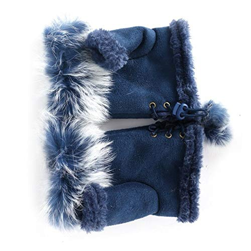 MYSdd Mode Frauen Faux Kaninchenfell Hand Winter Fingerlose Handschuhe Handschuhe Warmes Leder Wildleder Handschuhe Wärmer Handgelenk Handschuhe Blau One Size