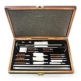 GULUZA Universal Aluminio para pistolas de rifle pistolas Shotgun Gun Kit de limpieza Cepillos con funda de madera