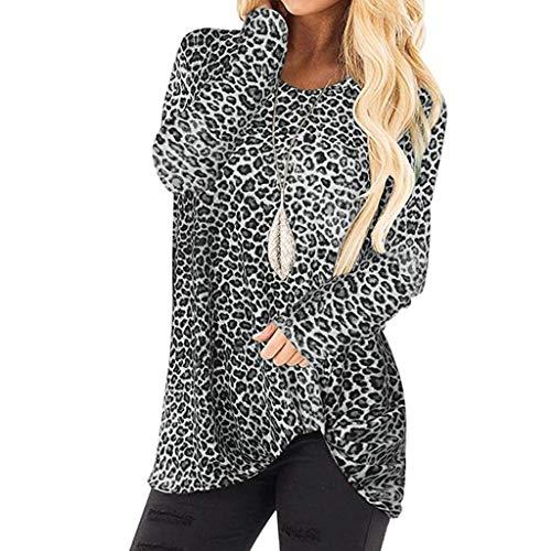 Andouy Damen Mode Leopard Gedruckt Pullover Seitliche Drehung Verknotet Lange Ärmel Leicht Tops Sweatshirt(3XL(46).Schwarz-Leopard)