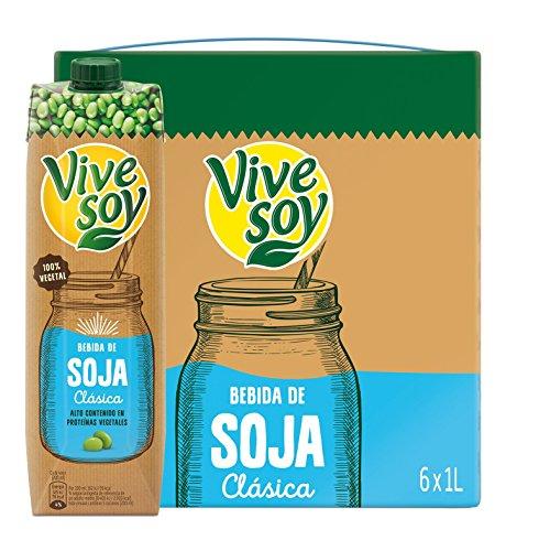 Vivesoy Bebida de Soja Sabor Natural Pack, 6 x 1L