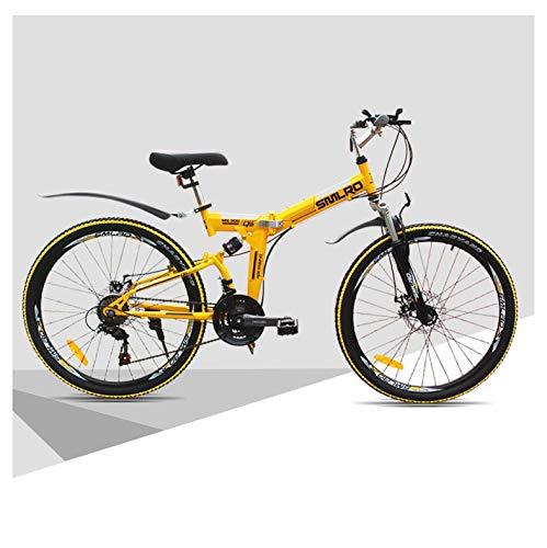 SYLTL 24/26in Plegable Bicicleta de Montaña Unisex Adulto Bicicleta Plegable Fuera de Carretera Absorción de Choque Folding Bike,Amarillo,24in