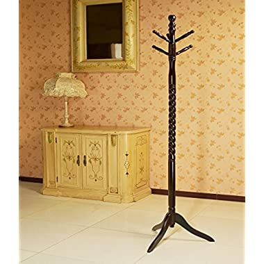 Frenchi Furniture Swivel Coat Rack Stand in Cherry Finish