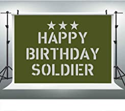 Happy Birthday Soldier Military Green Camo Backdrop for Army Party Photography, 9x6FT, Kids Veteran Camouflage Background, Photo Booth Studio Props DSLU199