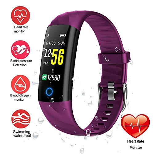 HitTopss Fitness Tracker Watch Smart Bracelet IP68 Waterproof Swim Watch Activity Tracker with Heart Rate Monitor Step Calories Counter Sleep Pedometer Watch for Men Women Kids/Android iOS (Purple 2)