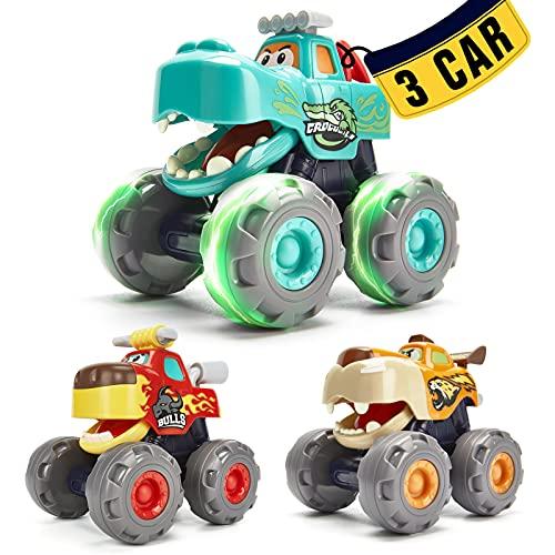 Coches de Juguetes Niños 1 año Camiones Monstruo 3 Pack Conjunto de Vehículos, Coches de Retroceso y Fricción Juguetes...