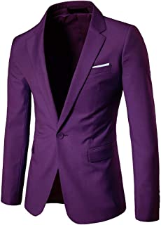 Men's Slim Fit Casual One Button Suits Coat Solid Blazer Business Jacket Wedding Blazer