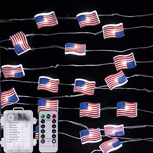 10ft 40 LEDs Patriotic Decorations String Lights, USA American Flag Lights String, 4th of July Decorations, Memorial Day Decorations Battery Operated, Remote Control, with Timer, for Indoor & Outdoor