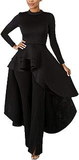 Annystore High Low Tops for Women - Ruffle Bodycon Peplum Asymmetrical Tunic Shirt Dresses