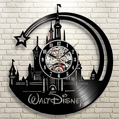 UIOLK Nuevo CD Reloj de Pared con Disco de Vinilo Diseño de Dibujos Animados Reloj de Bolsillo Negro Reloj de decoración del hogar Regalo para niños