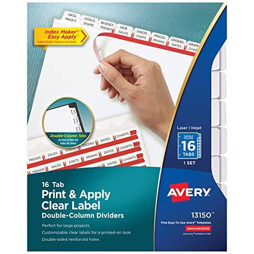 AVERY Divisórias para fichário de 16 pontas, fácil de imprimir e aplicar, fita transparente de etiquetas, marcadores brancos, 1 conjunto (13150)