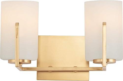 "popular Maxim 21282SWSBR 2021 Dart Modern Satin 2021 White Glass Cylinder Bath Vanity Wall Mount, 2-Light 120 Total Watts, 8""H x 13""W, Satin Brass outlet sale"