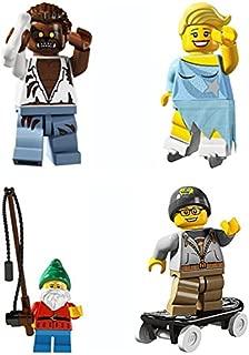 LEGO 8804 Minifigure Series 4 Collectible Bundle Figure Set: Werewolf Monster, Ice Figure Skater, Fisherman Lawn Gnome, Skateboarder