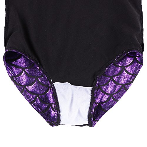 HUAANIUE Girls 3-12Y Fish Scales Sparkle Gymnastics Leotard Sleeveless 3-4Y Purple