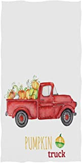 Fall Autumn Thanksgiving Pumpkin Hand Towels 16x30 in Rustic Red Truck Floral Thin Bathroom Towel Autumn Harvest Ultra Soft Highly Absorbent Small Bath Towel Bathroom Give Thanks Decor Gifts
