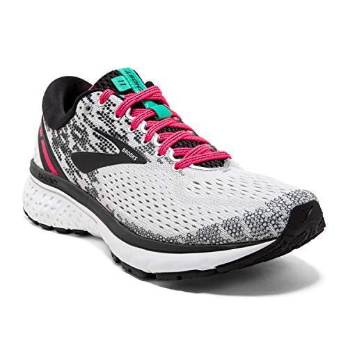 Brooks Womens Ghost 11 Running Shoe - White/Pink/Black - B - 8.0
