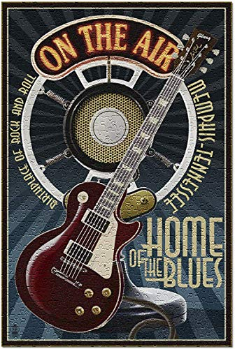 Memphis, Tennessee - Gitarre und Mikrofon blau) 1000-teiliges Puzzle für Erwachsene