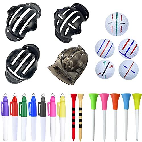 AVFWLSEE 18 Pcs Golf Ball Line Drawing Marker, Golf Ball Liner, Golf Ball Marking Tool Kit - 4 Golf Ball Marking Stencils, 7 Color Line Markers, 7 Color Golf Tees